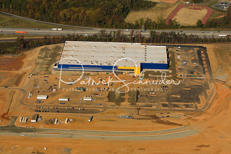 .Aerial view of Charlotte's University City area, an edge city surrounding the University of North Carolina at Charlotte campus. An IKEA store is under construction in this image.