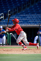 Philadelphia Phillies Guarner Dipre (28) follows through on a swing during a Florida Instructional League game against the Toronto Blue Jays on September 24, 2018 at Spectrum Field in Clearwater, Florida.  (Mike Janes/Four Seam Images)