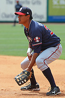 Alberto Odreman #34 of the Rome Braves playing 1st base during a game against the Charleston RiverDogs on April 27, 2010 in Charleston, SC.