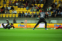 NZ keeper Tim Seifert runs out David Willey during the International Twenty20 cricket match between the NZ Black Caps and England at Westpac Stadium in Wellington, New Zealand on Tuesday, 13 February 2018. Photo: Dave Lintott / lintottphoto.co.nz