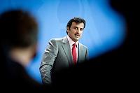Der Emir des Staates Katar, Scheich Tamim bin Hamad bin Khalifa al Thani gibt am Mittwoch (17.09.14) in Berlin eine Pressekonferenz.<br /> Foto: Axel Schmidt/CommonLens