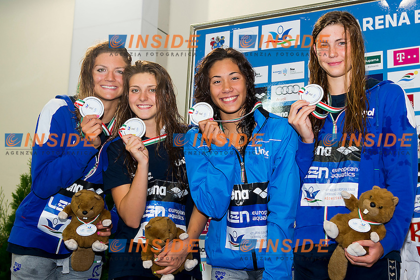 Team Italy ITA<br /> 4X100 Medley Relay Women Final Silver Medal<br /> LEN 43rd Arena European Junior Swimming Championships<br /> Hodmezovasarhely, Hungary <br /> Day03 08-07-2016<br /> Photo Andrea Masini/Deepbluemedia/Insidefoto