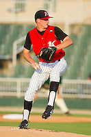 Starting pitcher Justin Collop #11 of the Kannapolis Intimidators in action against the Greensboro Grasshoppers at Fieldcrest Cannon Stadium August 3, 2010, in Kannapolis, North Carolina.  Photo by Brian Westerholt / Four Seam Images