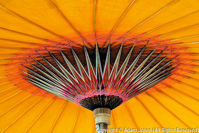 Construction details of handmade umbrella, Bosang, Chiang Mai, Thailand