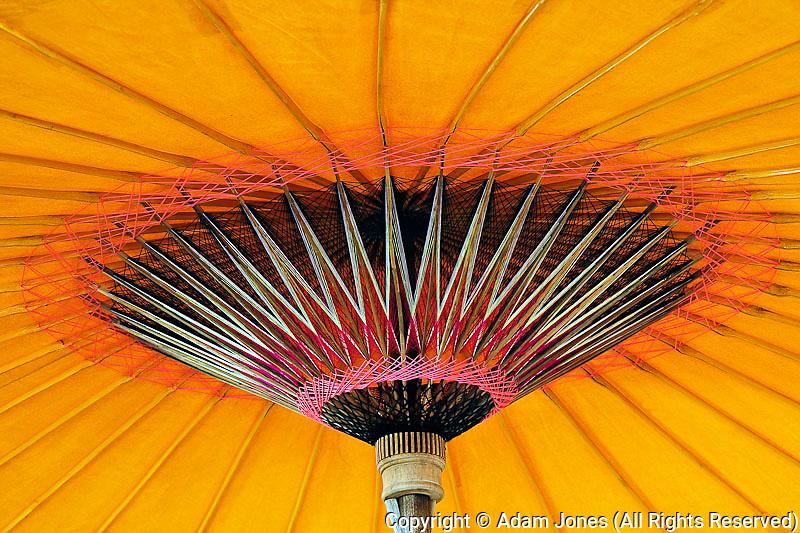 Construction details of handmade umbrella, Bosang, Chiang Mai, Thailand