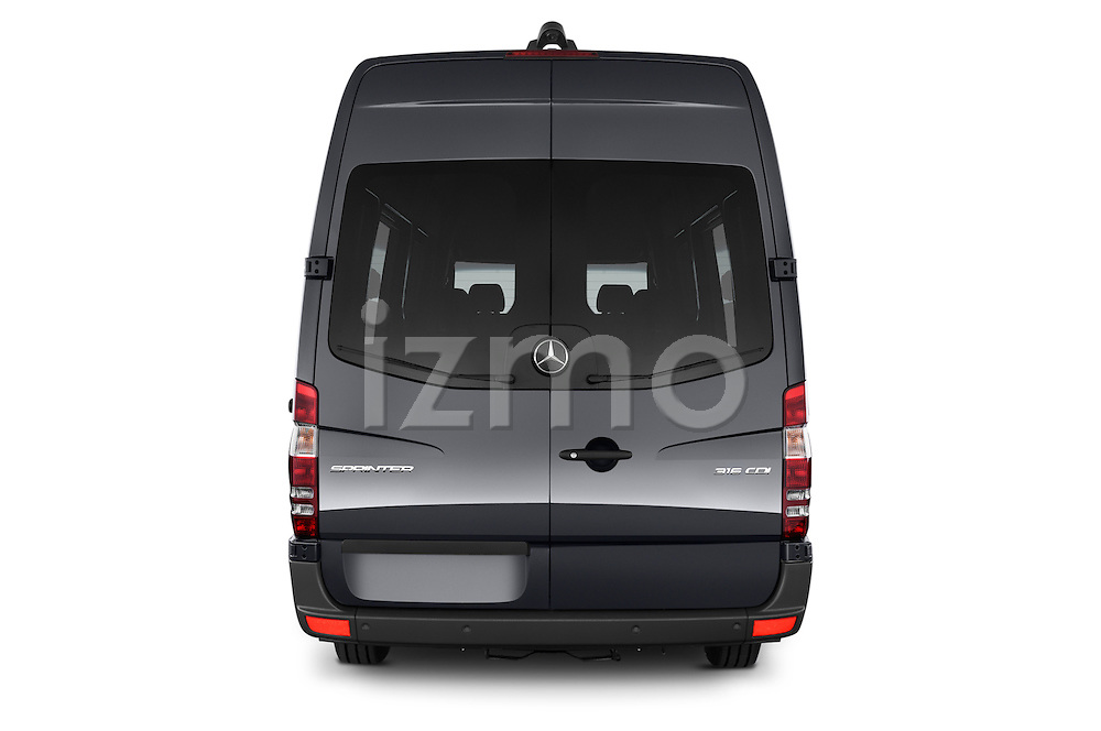 Straight rear view of a 2014 Mercedes Benz Sprinter 316CDi MWB 4 Door Combi 2WD Rear View  stock images