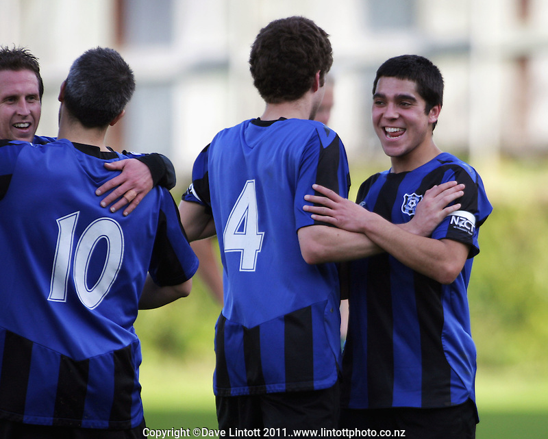 From left, Darren Cheriton, Wiremu Patrick, Campbell Parkin and Justin Gulley celebrate victory. Central League soccer - Miramar Rangers v Wairarapa United at David Farrington Park, Wellington, New Zealand on Sunday, 21 August 2011. Photo: Dave Lintott / lintottphoto.co.nz