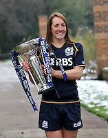 London, England. Scotland captain Susie Brown poses with the Women's Six Nations trophy during the RBS Six Nations launch at The Hurlingham Club on January 23, 2013 in London, England.