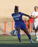Boston Breakers forward Lianne Sanderson (10) clears the ball.  In a National Women's Soccer League (NWSL) match, Boston Breakers (blue) defeated FC Kansas City (white), 1-0, at Dilboy Stadium on August 10, 2013.