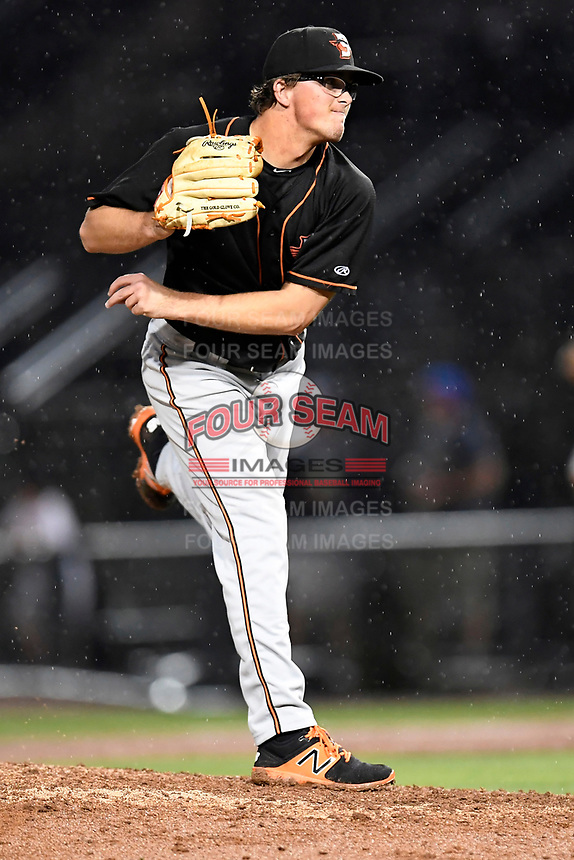 Alex Wells (31) of the Delmarva Shorebirds with the North team pitches during the South Atlantic League All-Star Game on Tuesday, June 20, 2017, at Spirit Communications Park in Columbia, South Carolina. The game was suspended due to rain after seven innings tied, 3-3. (Tom Priddy/Four Seam Images)