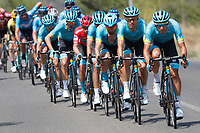 ESPAÑA, 29-08-2019: El equipo ASTANA rueda durante la etapa 6, hoy, 29 de agosto de 2019, que se corrió entre Mora de Rubielos y Ares del Maestrat con una distancia de 198,9 km como parte de La Vuelta a España 2019 que se disputa entre el 24/08 y el 15/09/2019 en territorio Español. / ASTANA team rides during stage 6 today, August 29, 2019, from Mora de Rubielos to Ares del Maestrat with a distance of 198,9 km as part of Tour of Spain 2019 which takes place between 08/24 and 09/15/2019 in Spain.  Photo: VizzorImage / Luis Angel Gomez / ASO<br /> VizzorImage PROVIDES THE ACCESS TO THIS PHOTOGRAPH ONLY AS A PRESS AND EDITORIAL SERVICE AND NOT IS THE OWNER OF COPYRIGHT; ANOTHER USE HAVE ADDITIONAL PERMITS AND IS  REPONSABILITY OF THE END USER