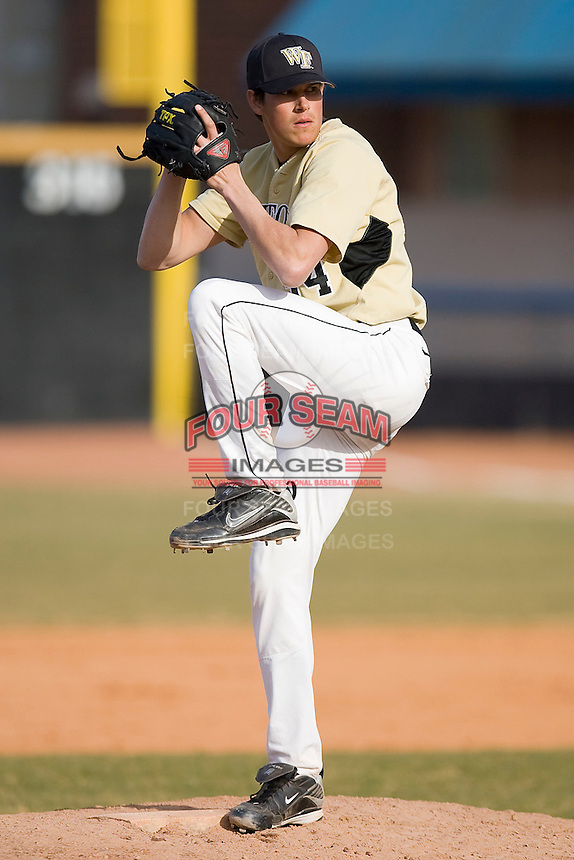 Relief pitcher Joel Ernst #34 of the Wake Forest Demon Deacons in action versus the Xavier Musketeers at Wake Forest Baseball Park March 7, 2010, in Winston-Salem, North Carolina.  Photo by Brian Westerholt / Four Seam Images