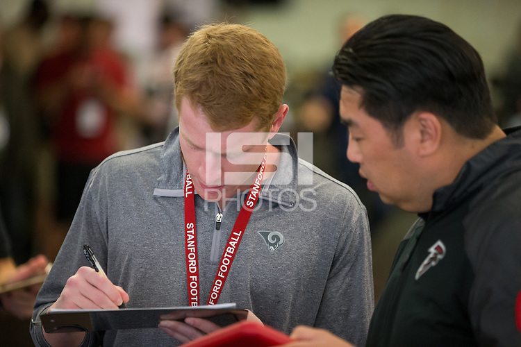 Stanford, CA - March 17, 2016: Stanford NFL Pro Timing Day 2016.