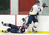 James Lyle (RMU - 5), Alex Grieve (Bentley - 23) - The Bentley University Falcons defeated the visiting Robert Morris University Colonials 2-1 on Friday, January 6, 2012, at the John A. Ryan Skating Arena in Watertown, Massachusetts.