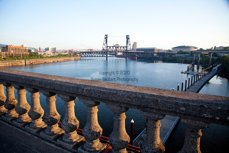 The view of the Steel Bridge from the Burnside Bridge at sunrise in downtown, Portland, Oregon.