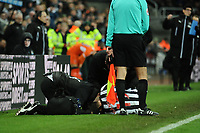 Javi Manquillo of Newcastle United receives treatment before being replaced during Newcastle United vs Luton Town, Emirates FA Cup Football at St. James' Park on 6th January 2018