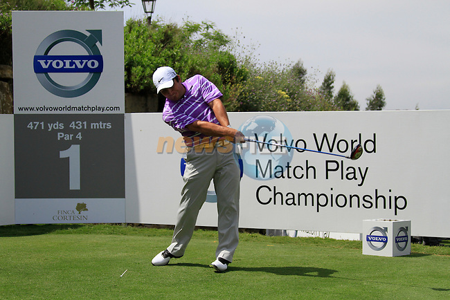 Francesco Molinari (ITA) teeing off on the 1st tee during Day 1 of the Volvo World Match Play Championship in Finca Cortesin, Casares, Spain, 19th May 2011. (Photo Eoin Clarke/Golffile 2011)