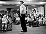 US Senate Democratic candidate Andrew Romanoff speaks to a small group of supporters at an apartment complex in Lakewood, Colo., on July 23, 2010, as he tries to unseat Sen. Michael Bennet in the primaryelection.