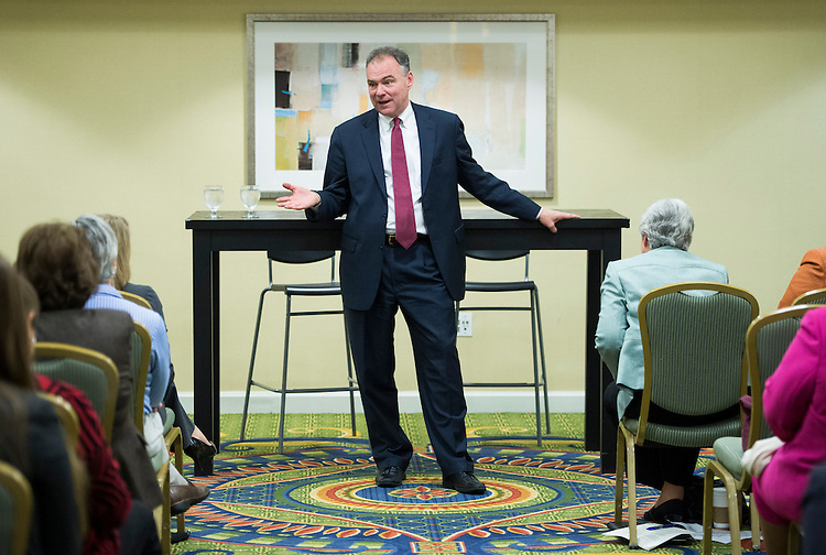 UNITED STATES - OCTOBER 16: Virginia Democratic candidate for U.S. Senate and former Gov. Tim Kaine, D-Va., speaks during a town hall with Northern Virginia women at the Washington Dulles Marriott Airport on Tuesday, Oct. 16, 2012. (Photo By Bill Clark/CQ Roll Call)
