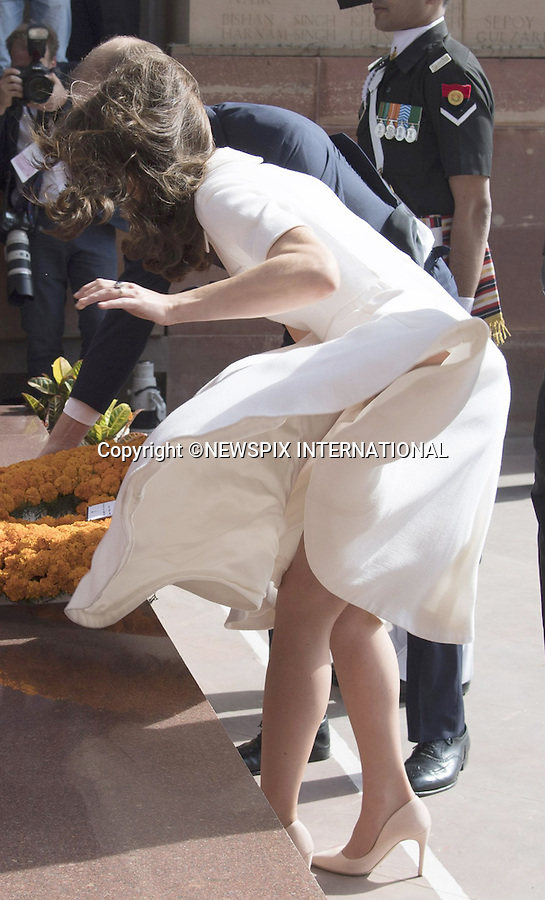 No UK Use For 28 Days<br />11.04.2016; Delhi, India: KATE MIDDLETON STRUGGLES WITH DRESS AND HAIR<br />on a windy day in New Delhi.<br />The Duchess who was accompanied by the Prince William, Duke of Cambridge was attending the wreath laying ceremony to honour the Indian Regiments that served in the World War 1 at India Gate.<br />Mandatory Credit Photo: &copy;Francis Dias/NEWSPIX INTERNATIONAL<br /><br />(Failure to credit will incur a surcharge of 100% of reproduction fees)<br />IMMEDIATE CONFIRMATION OF USAGE REQUIRED:<br />Newspix International, 31 Chinnery Hill, Bishop's Stortford, ENGLAND CM23 3PS<br />Tel:+441279 324672  ; Fax: +441279656877<br />Mobile:  07775681153<br />e-mail: info@newspixinternational.co.uk<br />Please refer to usage terms. All Fees Payable To Newspix International