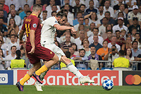 Uefa Champions League football match Real Madrid vs AS Roma at the Santiago Bernabeu stadium in Madrid on September 19, 2018.<br />  <br /> Bale scores