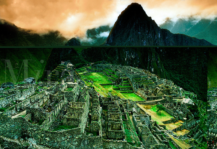 Overview of the ancient Incan ruins of Machu Picchu in Peru.