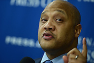 Washington, DC - May 24, 2016: U.S. Rep. Andre Carson (D-IN) discusses Islamophobia and its impact on Muslims during a presser with Rep. Keith Ellison at the National Press Club in the District of Columbia, May 24, 2016. Ellison and Carson are the only two Muslim members of Congress. (Photo by Don Baxter/Media Images International)
