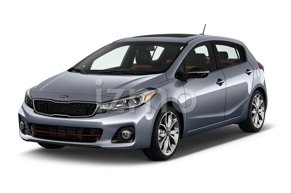 2017 KIA Forte5 SX 5 Door Hatchback Angular Front stock photos of front three quarter view