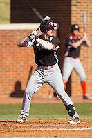 Logan Walker (4) of the Bowling Green Falcons at bat against the High Point Panthers at Willard Stadium on March 9, 2014 in High Point, North Carolina.  The Falcons defeated the Panthers 7-4.  (Brian Westerholt/Four Seam Images)