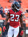 CLEVELAND, OH - AUGUST 18, 2016: Cornerback Robert Alford #23 of the Atlanta Falcons stands on the field prior to a preseason game on August 18, 2016 against the Cleveland Browns at FirstEnergy Stadium in Cleveland, Ohio. Atlanta won 24-13. (Photo by: 2016 Nick Cammett/Diamond Images) *** Local Caption *** Robert Alford
