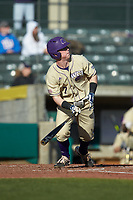Justice Bigbie (7) of the Western Carolina Catamounts starts down the first base line against the Saint Joseph's Hawks at TicketReturn.com Field at Pelicans Ballpark on February 23, 2020 in Myrtle Beach, South Carolina. The Hawks defeated the Catamounts 9-2. (Brian Westerholt/Four Seam Images)