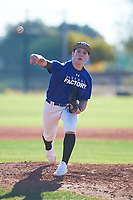 Aidan Thomas (50), from Sioux Falls, South Dakota, while playing for the Dodgers during the Under Armour Baseball Factory Recruiting Classic at Red Mountain Baseball Complex on December 28, 2017 in Mesa, Arizona. (Zachary Lucy/Four Seam Images)