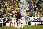 06 June 2008: Flares burn on the field during a stoppage in play in the second half. The Venezuela Men's National Team defeated the Brazil Men's National Team 2-0 at Gillette Stadium in Foxboro, Massachusetts in an international friendly soccer match.