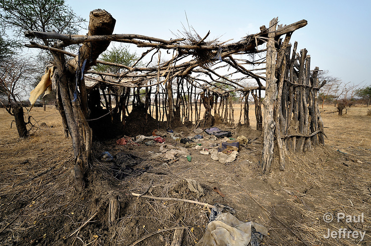 The remains of a house in Mijak, a village in the contested Abyei region from which residents fled in 2011 after an attack by soldiers and militias from the northern Republic of Sudan. Although the 2005 Comprehensive Peace Agreement called for residents of Abyei--which sits on the border between Sudan and South Sudan--to hold a referendum on whether they wanted to align with the north or the newly independent South Sudan, the government in Khartoum and northern-backed Misseriya nomads, excluded from voting as they only live part of the year in Abyei, blocked the vote and attacked the majority Dinka Ngok population. The African Union has proposed a new peace plan, including a referendum to be held in October 2013, but it has been rejected by the Misseriya and Khartoum. The Catholic parish of Abyei, with support from Caritas South Sudan and other international church partners, has maintained its pastoral presence among the displaced and assisted them with food, shelter, and other relief supplies.