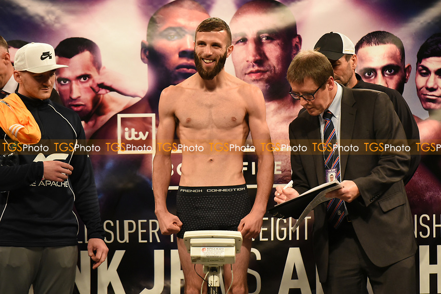 Anthony Cacace on the scales during a Weigh-In at the SSE Arena on 14th July 2017