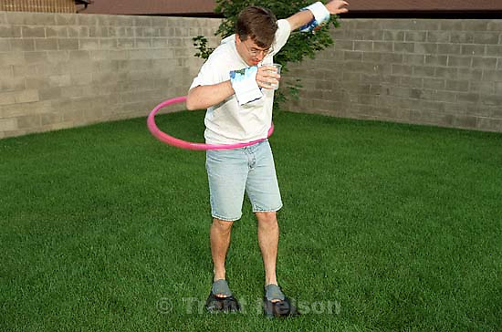 Jamie McMahon doing a relay race at a family get-together.<br />