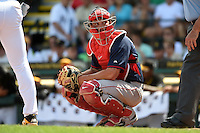 Boston Red Sox catcher Blake Swihart (71) during a Spring Training game against the Pittsburgh Pirates on March 12, 2015 at McKechnie Field in Bradenton, Florida.  Boston defeated Pittsburgh 5-1.  (Mike Janes/Four Seam Images)