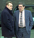 Archive Picture. Gary McMichael, (UDP) Ulster Democratic party leader chats with leader of the (SDLP) Social Democratic and Labour party John Hume in the car park of Castle Buildings, Stormont, Friday April 10, 1998, Belfast Northern Ireland. The an agreement is due on the future of Northern Ireland is expected soon.  Photo/Paul McErlane Photography