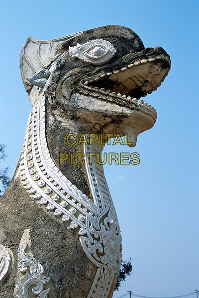 Head of statue, Wat Phra That Lampang Luang Temple, Lampang, Lampang Province, Northern Thailand