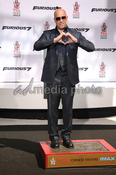 1 April 2015 - Hollywood, California - Vin Diesel. Vin Diesel Hand and Footprint Ceremony held at the TCL Chinese Theatre. Photo Credit: Byron Purvis/AdMedia