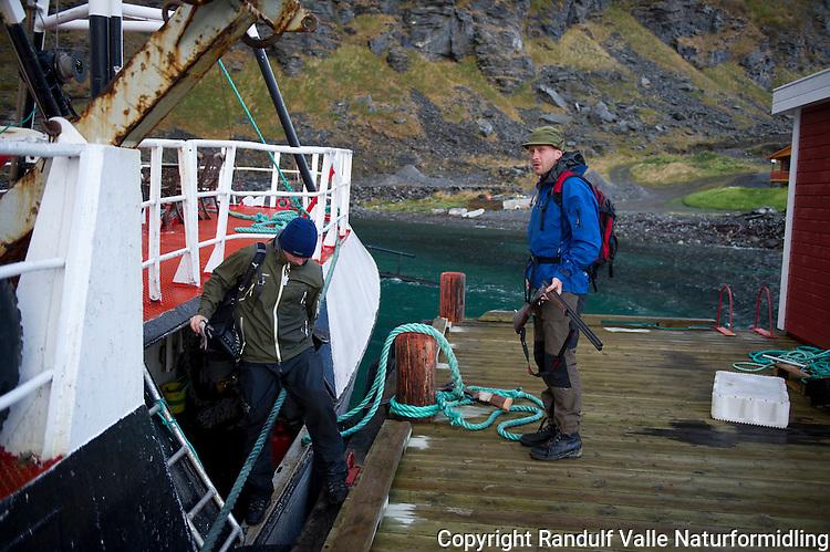 Rypejegere går i land fra skøyte i Hellefjord på Sørøya. ----- Grouse hunters on island Sørøya.