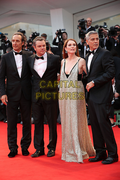 VENICE, ITALY - SEPTEMBER 02: Alexandre Desplat , Matt Damon, Julianne Moore George Clooney - arrivals at the 'Suburbicon' screening during the 74th Venice Film Festival at Sala Grande on September 2, 2017 in Venice, Italy.<br /> CAP/GOL<br /> &copy;GOL/Capital Pictures