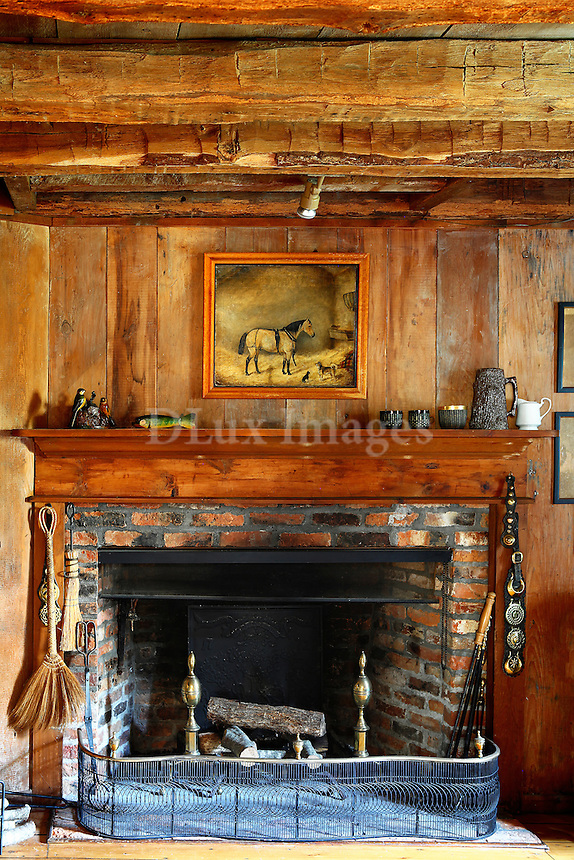 cottage style wooden fireplace