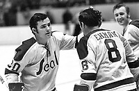 Seals Ernie Hicke, Gerry Ehman celebrate goal. (1971 photo/Ron Riesterer)