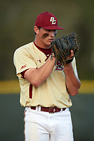 Boston College Eagles relief pitcher Donovan Casey (30) looks in for the sign during a game against the Central Michigan Chippewas on March 8, 2016 at North Charlotte Regional Park in Port Charlotte, Florida.  Boston College defeated Central Michigan 9-3.  (Mike Janes/Four Seam Images)