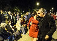 Coppie ballano il tango all'aperto nei giardini di Piazza Vittorio in occasione della Milonga della Liberazione, a Roma, 24 aprile 2015.<br /> Couples dance tango in an outdoor milonga to celebrate the Italian Liberation Day, in Rome, 24 April 2015.<br /> UPDATE IMAGES PRESS/Riccardo De Luca