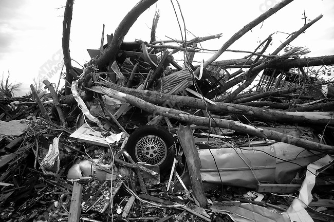 After a tornado cut a path a mile by four miles wide, destroying over 2000 homes and businesses, including the hospital. Joplin, Mo, May 2011