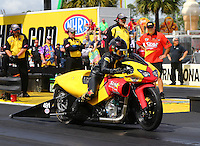Mar 13, 2015; Gainesville, FL, USA; NHRA pro stock motorcycle rider Angelle Sampey during qualifying for the Gatornationals at Auto Plus Raceway at Gainesville. Mandatory Credit: Mark J. Rebilas-USA TODAY Sports