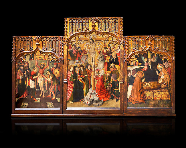 Gothic Catalan altarpiece of, left to right, the martydom of St Bartholomew, Calvaty and the deat of St Mary Magdelene, by Jaume Huguet, Barcelona circa 11465-1480, tempera and gold leaf on for wood, from the church of San Marti de Petegas de san Seloni, Valle Oriental, Spain.  National Museum of Catalan Art, Barcelona, Spain, inv no: MNAC   24365. Against a black background.