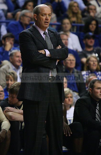 Vanderbilt's Coach Kevin Stallings overlooks the court from the sidelines during the Kentucky game against the Vanderbilt Commodores at Rupp Arena on January 20, 2015 in Lexington, Kentucky. Kentucky leads Vanderbilt 65-57. Photo by Taylor Pence